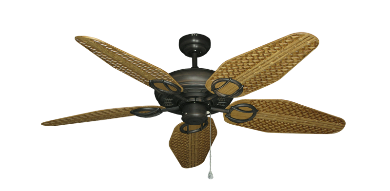 "Trinidad Oil Rubbed Bronze with 52"" Outdoor Weave Walnut Blades"