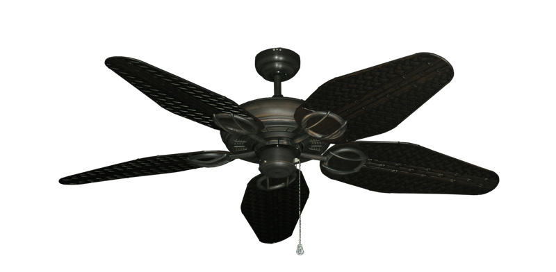 "Picture of Trinidad Oil Rubbed Bronze with 52"" Outdoor Weave Oil Rubbed Bronze Blades"