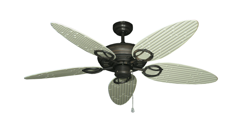"""Picture of Trinidad Oil Rubbed Bronze with 52"""" Outdoor Bamboo Antique White Blades"""