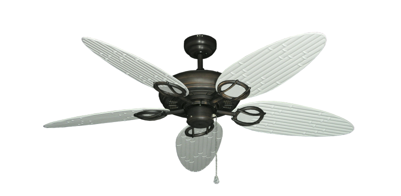 "Picture of Trinidad Oil Rubbed Bronze with 52"" Outdoor Bamboo Pure White Blades"