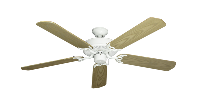 """Bermuda Breeze V Pure White with 52"""" Outdoor Bleached Oak Blades"""