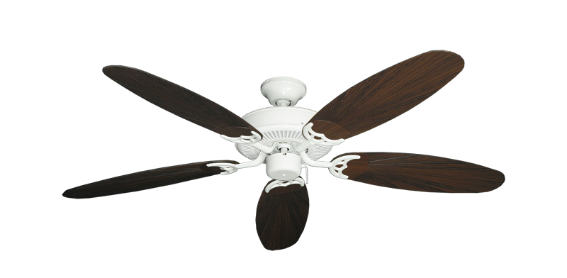 "Picture of Bermuda Breeze V Pure White with 52"" Outdoor Leaf Oil Rubbed Bronze Blades"