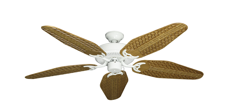 "Picture of Bermuda Breeze V Pure White with 52"" Outdoor Weave Walnut Blades"