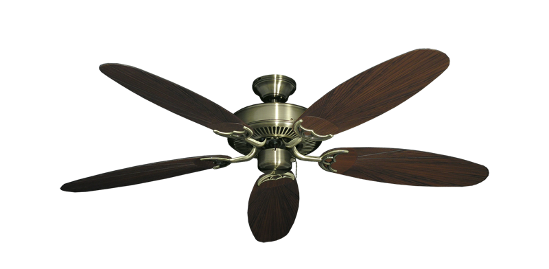 "Picture of Bermuda Breeze V Antique Brass with 52"" Outdoor Leaf Oil Rubbed Bronze Blades"