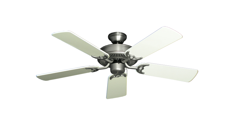 """Bermuda Breeze V Satin Steel with 44"""" Antique White Gloss Blades"""
