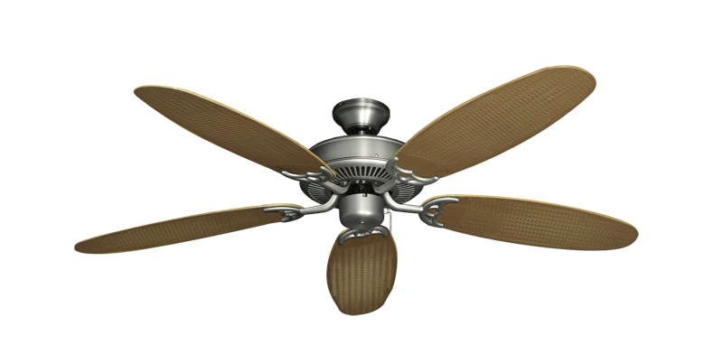 "Bermuda Breeze V Satin Steel with 52"" Outdoor Wicker Tan Blades"