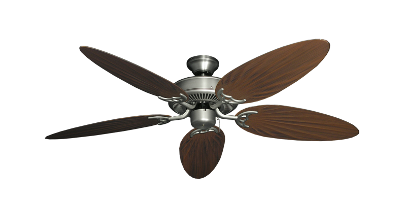 """Picture of Bermuda Breeze V Satin Steel with 52"""" Outdoor Palm Oil Rubbed Bronze Blades"""
