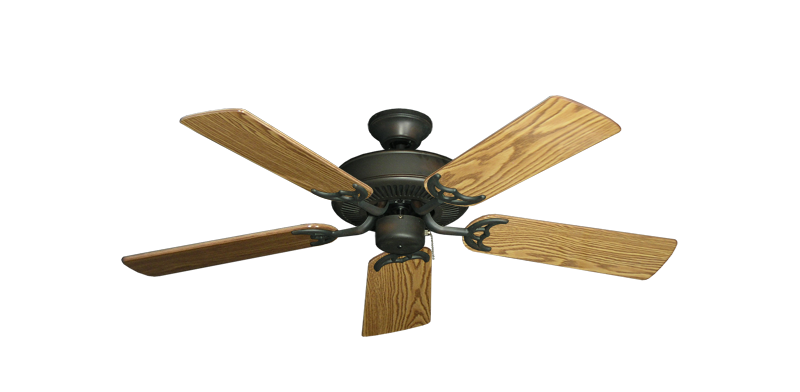 "Bermuda Breeze V Oil Rubbed Bronze with 44"" Oak Gloss Blades"
