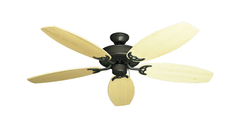 """Picture of Bermuda Breeze V Oil Rubbed Bronze with 52"""" Oar Bamboo Natural Blades"""