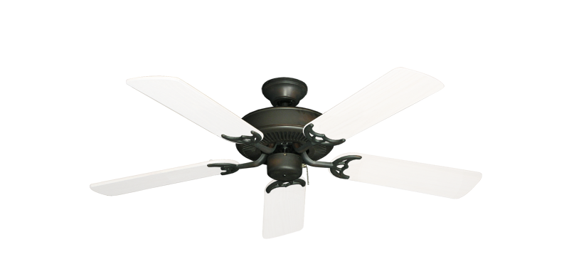 """Bermuda Breeze V Oil Rubbed Bronze with 44"""" Outdoor Pure White Blades"""
