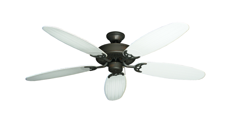 "Picture of Bermuda Breeze V Oil Rubbed Bronze with 52"" Outdoor Wicker Pure White Blades"