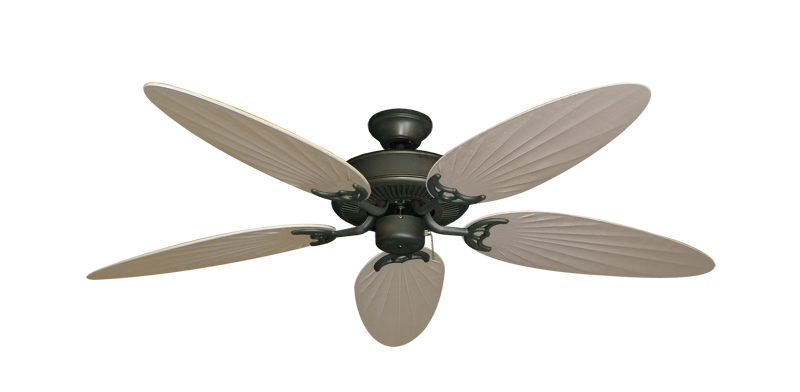 "Picture of Bermuda Breeze V Oil Rubbed Bronze with 52"" Outdoor Palm Distressed White Blades"