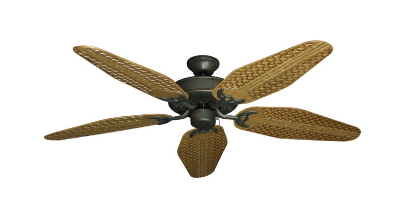 """Bermuda Breeze V Oil Rubbed Bronze with 52"""" Outdoor Weave Walnut Blades"""