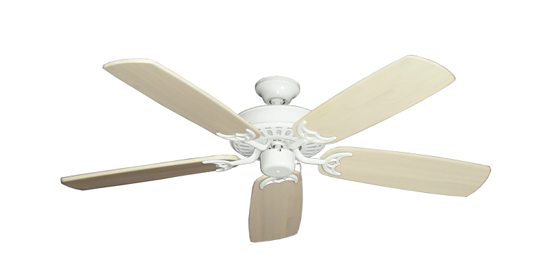 "Bimini Breeze V Pure White with 52"" Series 425 Arbor Whitewash Blades"