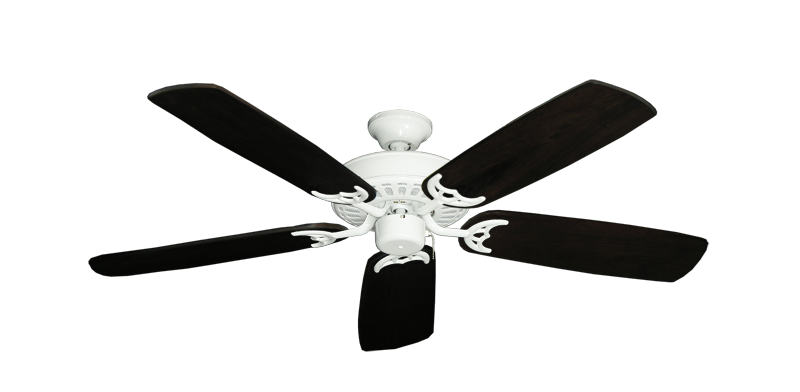 "Bimini Breeze V Pure White with 52"" Series 425 Arbor Dark Walnut Blades"