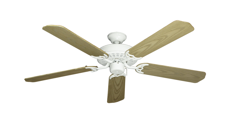 """Bimini Breeze V Pure White with 52"""" Outdoor Bleached Oak Blades"""