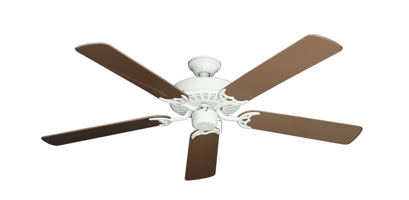 """Bimini Breeze V Pure White with 52"""" Outdoor Brown Blades"""