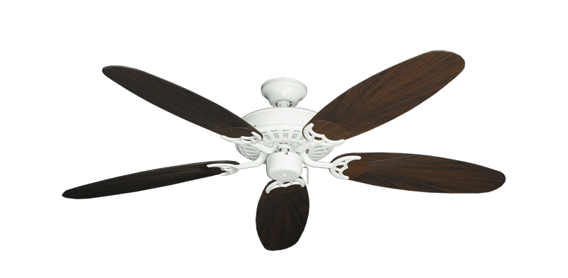 "Picture of Bimini Breeze V Pure White with 52"" Outdoor Leaf Oil Rubbed Bronze Blades"