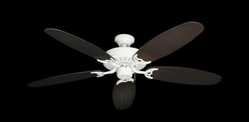 "Picture of Bimini Breeze V Pure White with 52"" Outdoor Wicker Oil Rubbed Bronze Blades"