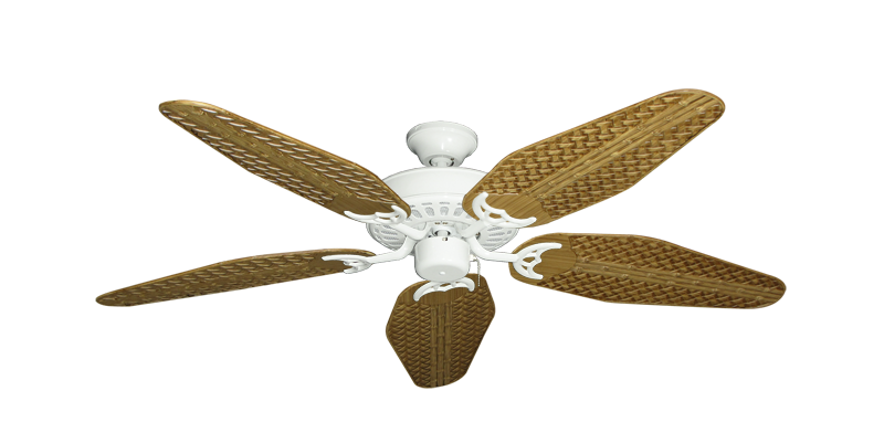 """Picture of Bimini Breeze V Pure White with 52"""" Outdoor Weave Walnut Blades"""