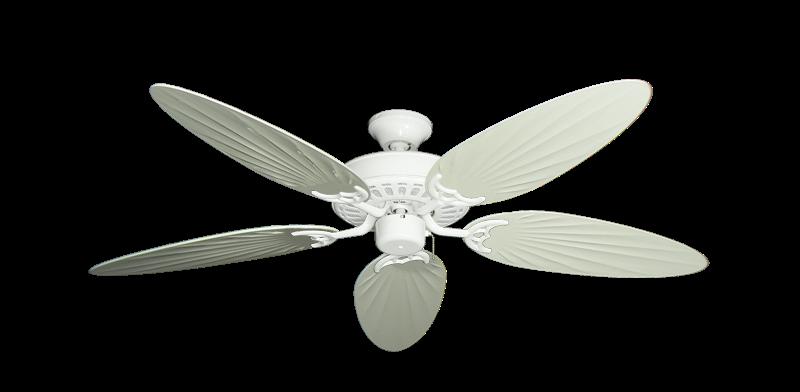 "Bimini Breeze V Pure White with 52"" Outdoor Palm Antique White Blades"
