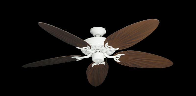 "Bimini Breeze V Pure White with 52"" Outdoor Palm Oil Rubbed Bronze Blades"