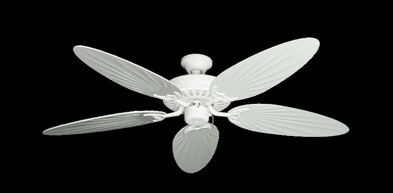 "Bimini Breeze V Pure White with 52"" Outdoor Palm Pure White Blades"