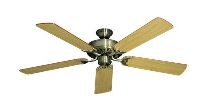 "Picture of Bimini Breeze V Antique Brass with 52"" Honey Oak Blades"