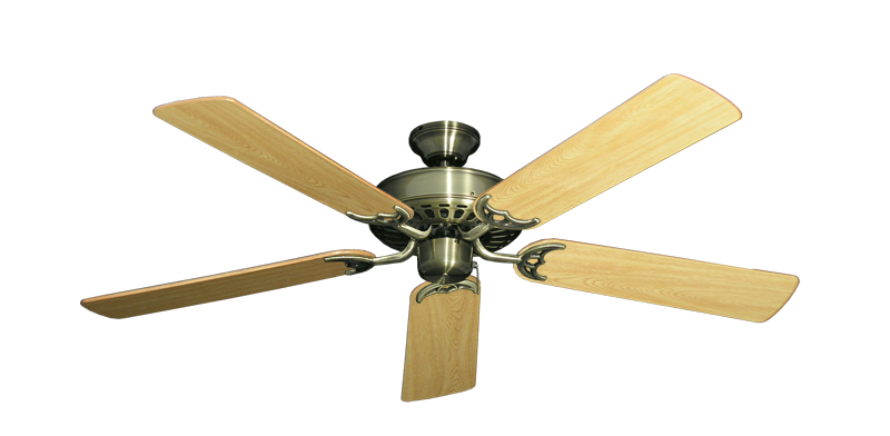 """Picture of Bimini Breeze V Antique Brass with 52"""" Honey Oak Gloss Blades"""