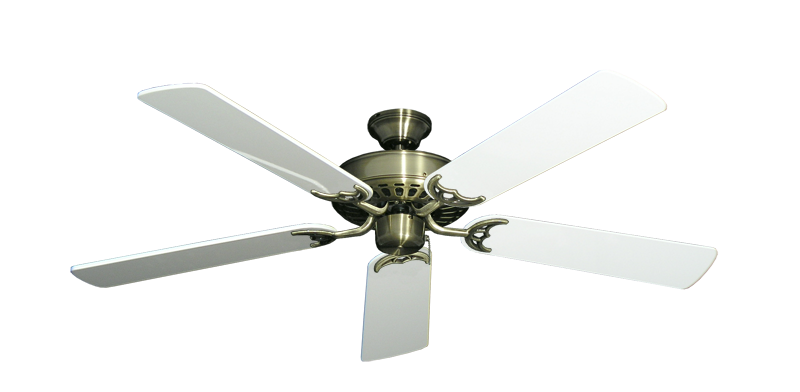 """Picture of Bimini Breeze V Antique Brass with 52"""" Pure White Gloss Blades"""