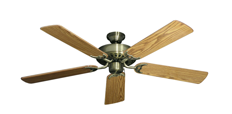 """Picture of Bimini Breeze V Antique Brass with 52"""" Oak Gloss Blades"""