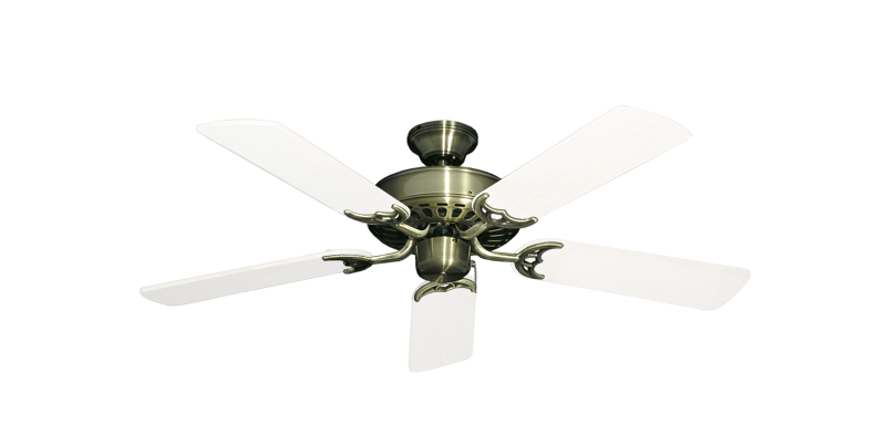 """Picture of Bimini Breeze V Antique Brass with 44"""" Outdoor Pure White Blades"""