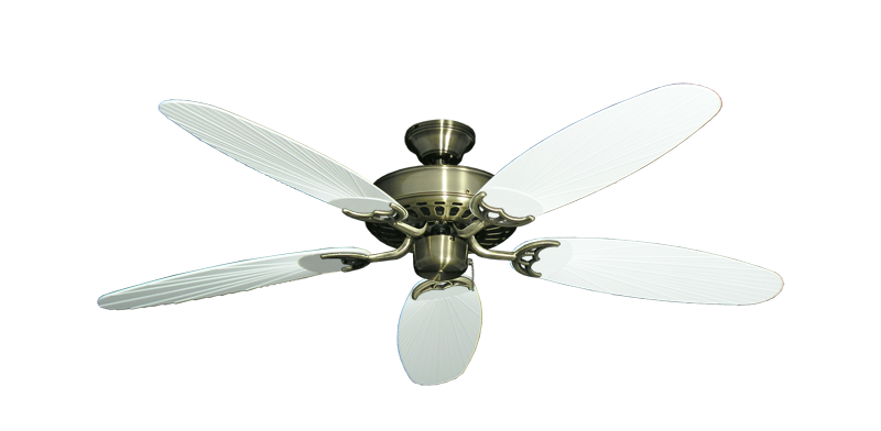 """Picture of Bimini Breeze V Antique Brass with 52"""" Outdoor Leaf Pure White Blades"""