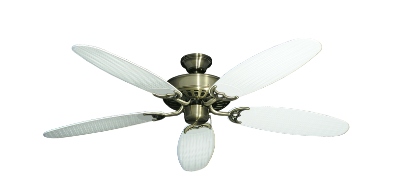 """Picture of Bimini Breeze V Antique Brass with 52"""" Outdoor Wicker Pure White Blades"""