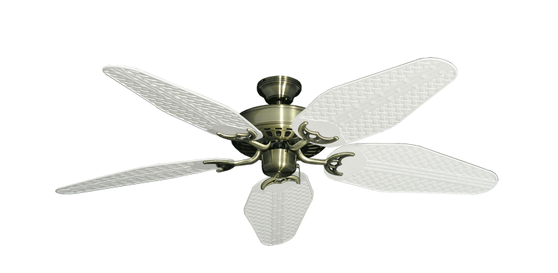 "Picture of Bimini Breeze V Antique Brass with 52"" Outdoor Weave Pure White Blades"