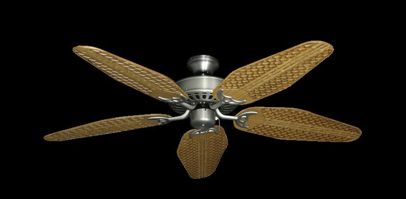 "Bimini Breeze V Satin Steel with 52"" Outdoor Weave Walnut Blades"