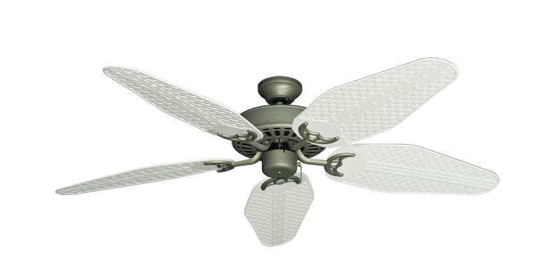 """Picture of Bimini Breeze V Antique Bronze with 52"""" Outdoor Weave Pure White Blades"""