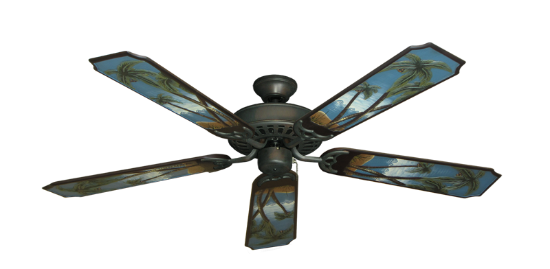 "Bimini Breeze V Oil Rubbed Bronze with 52"" Series 351 Arbor Palm Tree Blades"