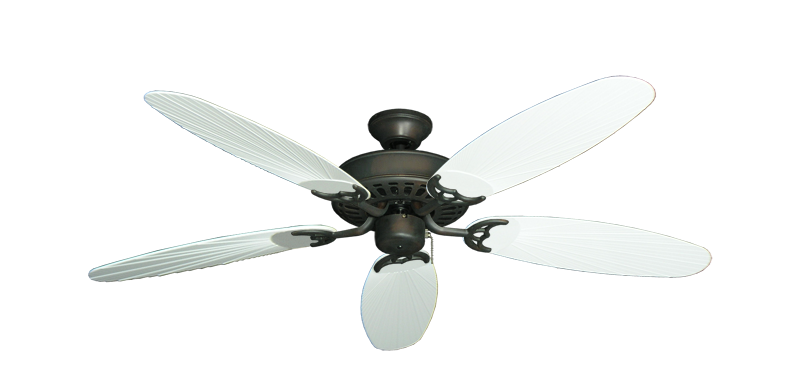 """Picture of Bimini Breeze V Oil Rubbed Bronze with 52"""" Outdoor Leaf Pure White Blades"""