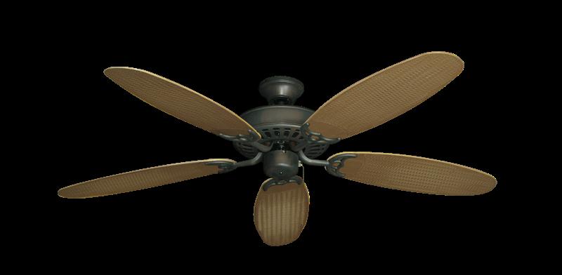"Bimini Breeze V Oil Rubbed Bronze with 52"" Outdoor Wicker Tan Blades"