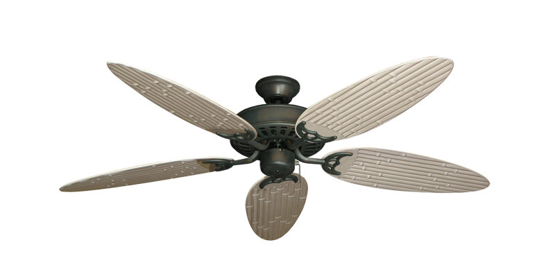 """Bimini Breeze V Oil Rubbed Bronze with 52"""" Outdoor Bamboo Distressed White Blades"""