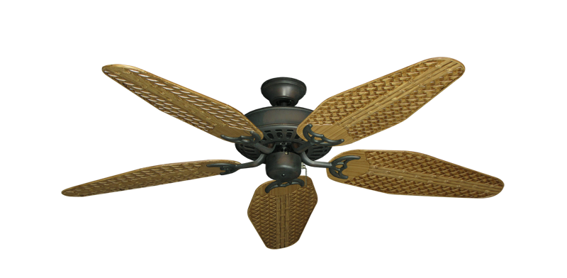 "Picture of Bimini Breeze V Oil Rubbed Bronze with 52"" Outdoor Weave Walnut Blades"