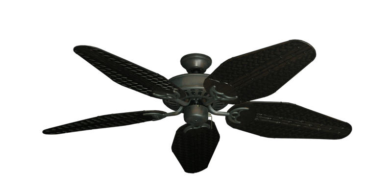 """Picture of Bimini Breeze V Oil Rubbed Bronze with 52"""" Outdoor Weave Oil Rubbed Bronze Blades"""