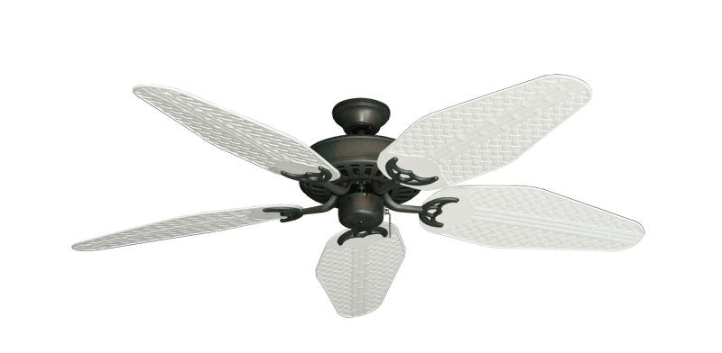 """Picture of Bimini Breeze V Oil Rubbed Bronze with 52"""" Outdoor Weave Pure White Blades"""