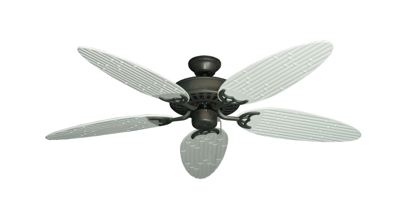 """Picture of Bimini Breeze V Oil Rubbed Bronze with 52"""" Outdoor Bamboo Pure White Blades"""
