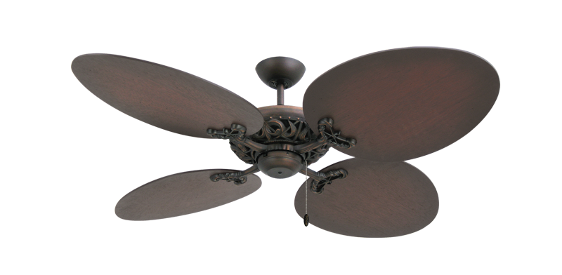 "Picture of Corsica Oil Rubbed Bronze with 54"" Large Oval Distressed Walnut Blades"