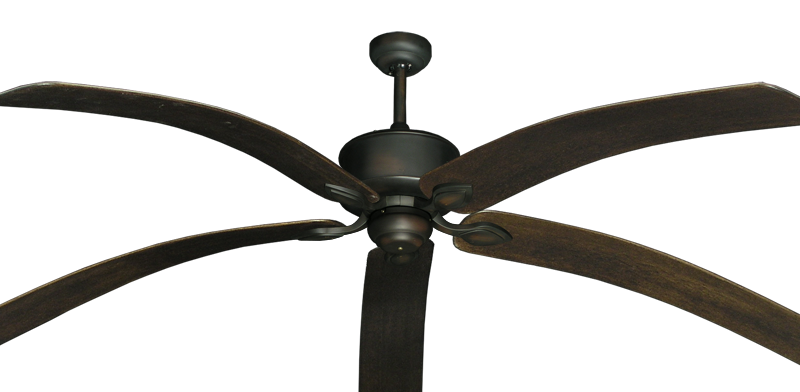 "Picture of Hercules Oil Rubbed Bronze with 80"" Bahama Bent Walnut Blades"