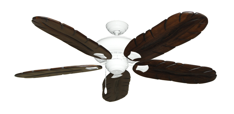 "Picture of Tiara Pure White with 58"" Series 500 Arbor Dark Walnut Blades"