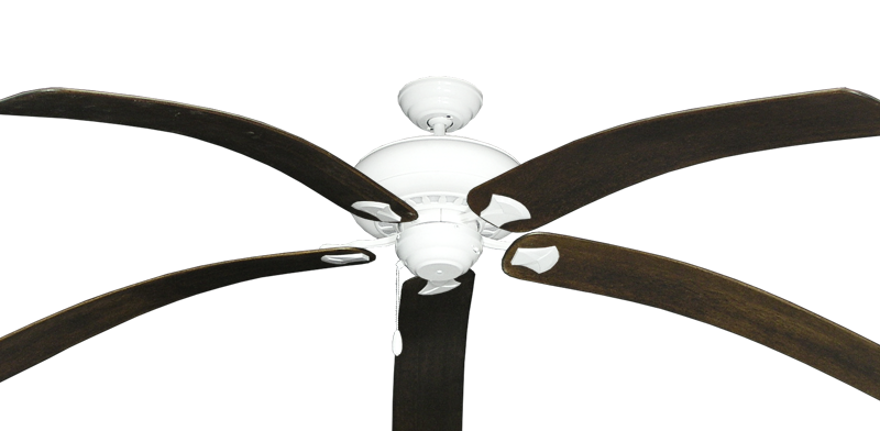 """Picture of Tiara Pure White with 80"""" Bahama Bent Walnut Blades"""