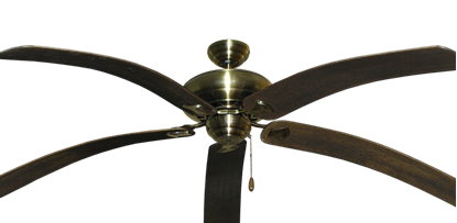 "Picture of Tiara Antique Brass with 80"" Bahama Bent Walnut Blades"